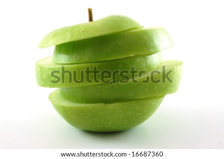 A cutted apple isolated on a white backgound.
