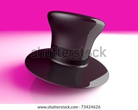 A cylinder Hat. 3D rendered Illustration. A classic Cylinder Hat. 3D rendered Illustration. - stock photo