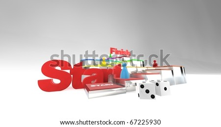 A 3D boardgame playing out - stock photo