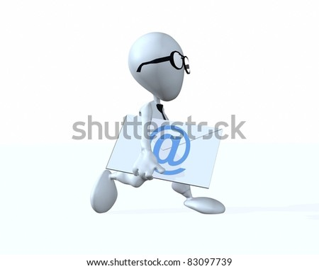 A 3d businessman running with an envelope marked with an e-mail symbol