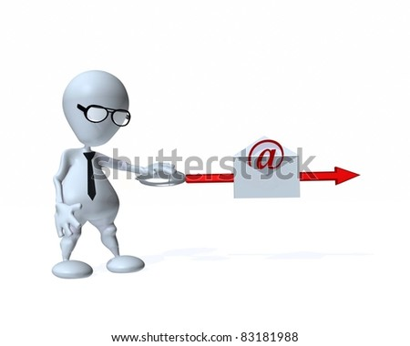 A 3d businessman sending an email message