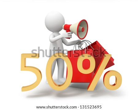 A 3d businessman , speaker, promotion, 50% sale