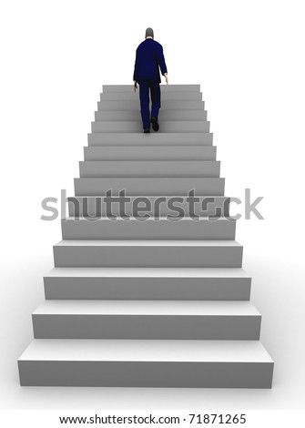 A 3d businessman walking upstairs the success staircase. - stock photo
