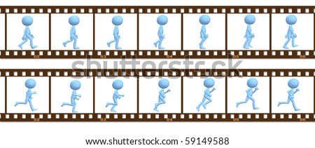 A 3D cartoon character people walk and run in a cel frame animation. - stock photo