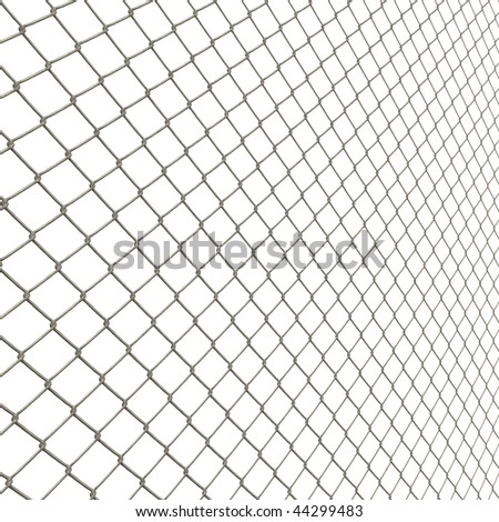 A 3D chain link fence texture isolated over white.  This tiles seamlessly as a pattern in any direction. - stock photo