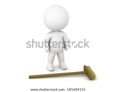 A 3D character and a broom. Isolated on white background.