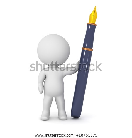 A 3D character and a large fountain pen. Isolated on white background. - stock photo