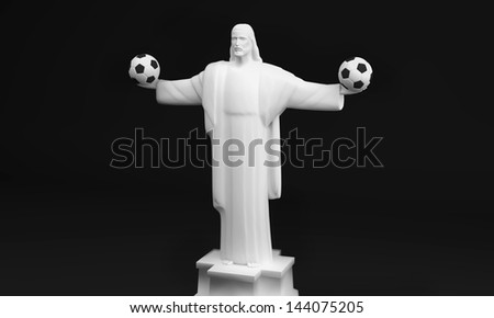 A 3D created image of Christ the Redeemer with two soccer balls in its hands. - stock photo