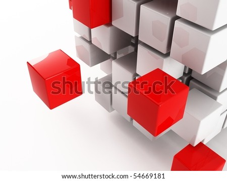 a 3d Cube on a white background - stock photo
