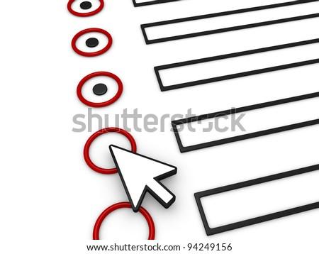 A 3d cursor is on top of a 3d form in order to complete it - stock photo