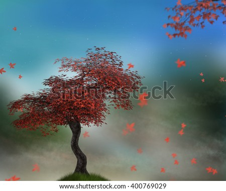 A 3d digital rendering of a Red maple tree on a grassy hill.  - stock photo
