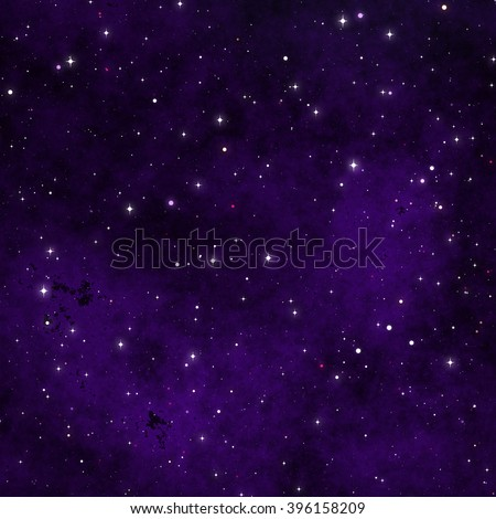 A 3d digital rendering of space with purple nebula. This is meant to be a fantasy illustration and is not made with any imagery from NASA. - stock photo