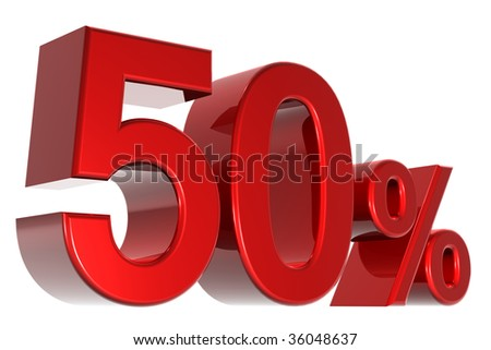 A 3d fifty percent concept - stock photo
