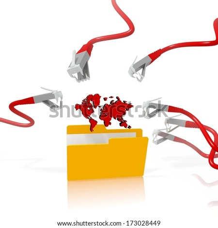 a 3d file folder with a red international in it isolated on white background is attacked and hacked by network cables
