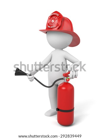 A 3d fireman standing with a helmet and a extinguisher. 3d image. Isolated white background - stock photo