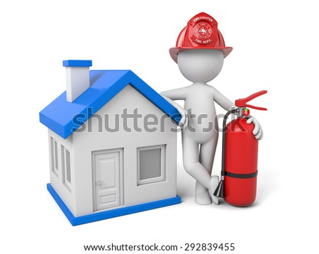 A 3d fireman standing with house. 3d image. Isolated white background - stock photo