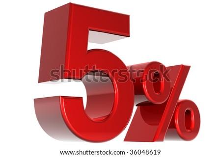 A 3d five percent concept - stock photo