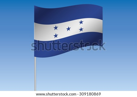 A 3D Flag Illustration waving in the sky of the country of  Honduras