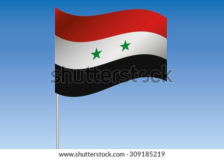 A 3D Flag Illustration waving in the sky of the country of  Syria - stock photo