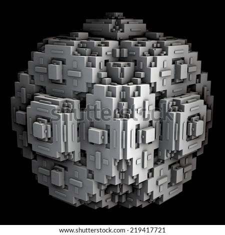 A 3d fractal of a cube with extruded modules. - stock photo