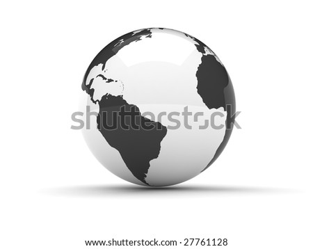 A 3d globe in black and white