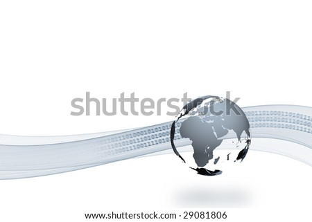 A 3d globe with shadow and a abstract curve and binary text in the background