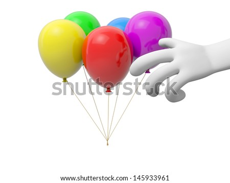 A 3d hand/ five balloons background/red/yellow/green/blue/purple - stock photo