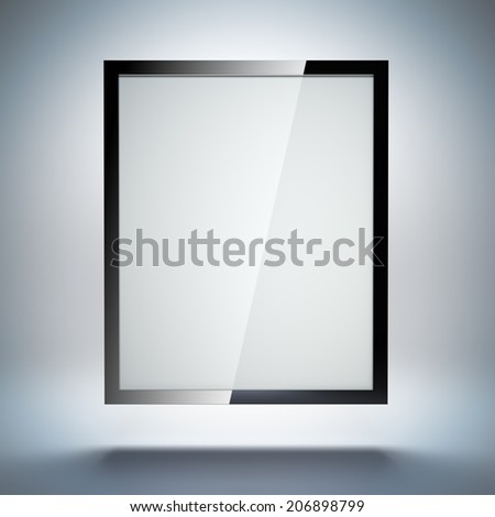 A 3d illustration blank template layout of abstract tablet pc or electronic photo frame on simple background. - stock photo
