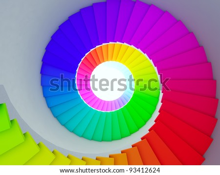 A 3d illustration of a colorful spiral stair to the future. - stock photo