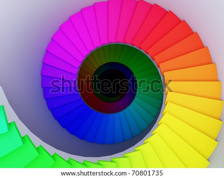 A 3d illustration of a colorful spiral stair to the infinity. - stock photo