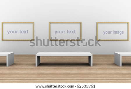 a 3d illustration of a empty museum room - stock photo