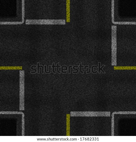 a 2d illustration of a four way intersection.