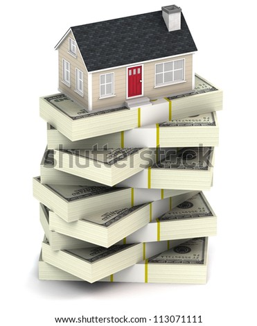 A 3D illustration of a house on a stack of bundled cash on a white background - stock photo