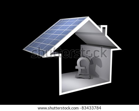 a 3d illustration of a house with solar panel and pound sign