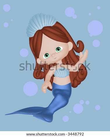 A 3D illustration of a little girl mermaid, with bubble background - stock photo