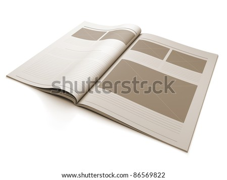A 3d illustration of a Magazine blank page for design layout illustration. - stock photo