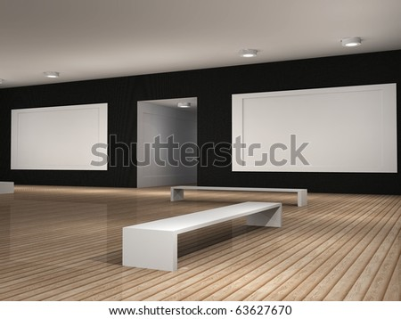 a 3d illustration of a museum room with frames - stock photo