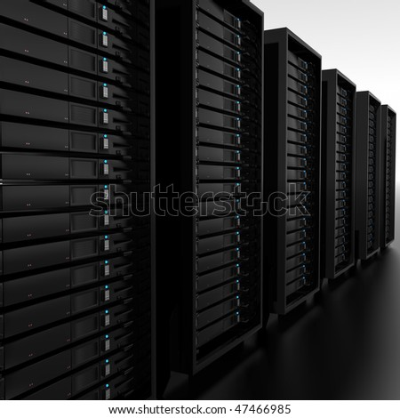a 3d illustration of a row of servers - stock photo