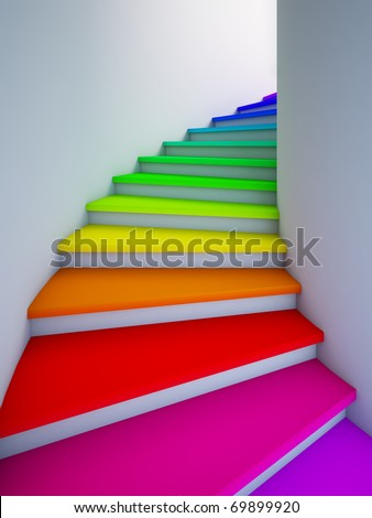 A 3d illustration of a spiral colorful stair to the future. - stock photo