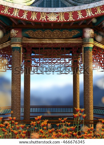 A 3d illustration of an Asian type pavilion with mountain view and orange flowers.