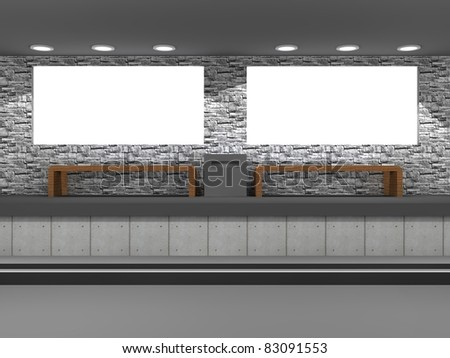 a 3d illustration of blank billboards in the subway - stock photo