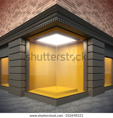 A 3d illustration of blank template corner showcase. - stock photo
