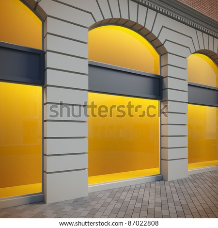 A 3d illustration of classical empty showcase. - stock photo