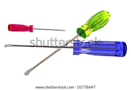A 3D illustration of colorful screwdrivers on white.