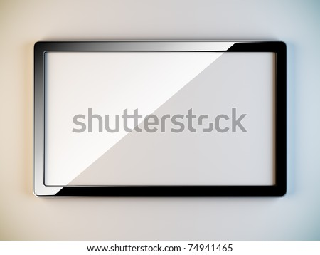 A 3D illustration of empty black plastic frame. - stock photo