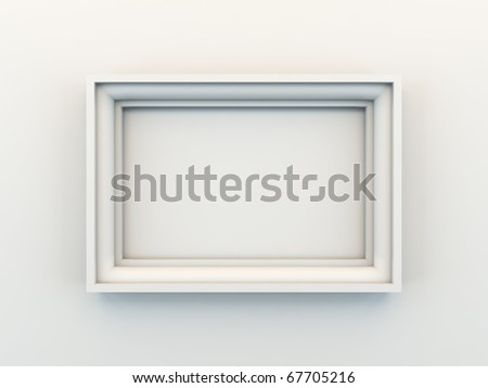 A 3D illustration of empty frame. - stock photo