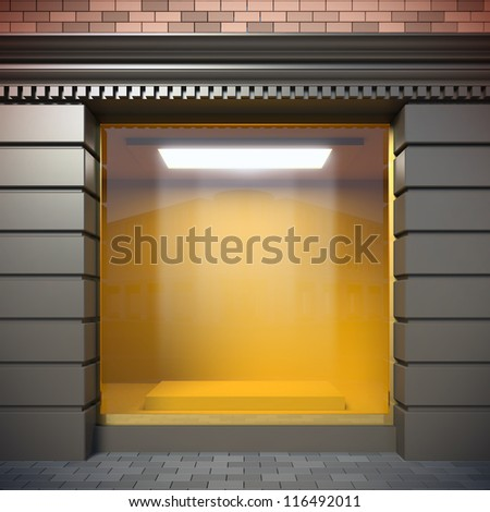 A 3D illustration of empty showcase in classical style. - stock photo