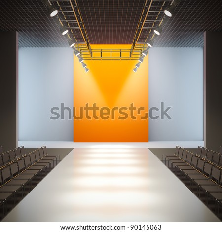 A 3D illustration of fashion empty runway. - stock photo