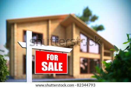 """A 3D illustration of """"Home For Sale"""" sign in front of new house - stock photo"""