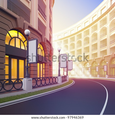 A 3d illustration of idyllic street retail with blank template billboards. - stock photo